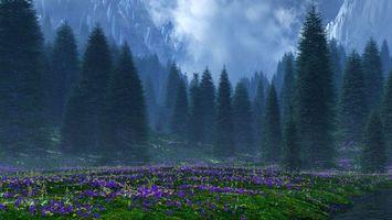 Бесплатные фото поляна,трава,цветы,деревья,горы,облака