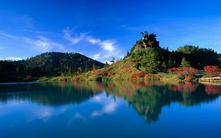 Фото бесплатно растительность, холмы, отражение