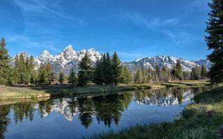 Бесплатные фото река,отражение,трава,деревья,горы,вершины,снег