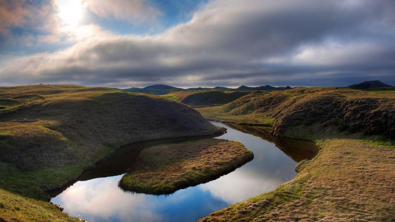 Фото бесплатно холмы, трава, озеро - на рабочий стол