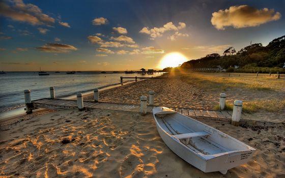 Фото бесплатно пляж, лодка, мостики