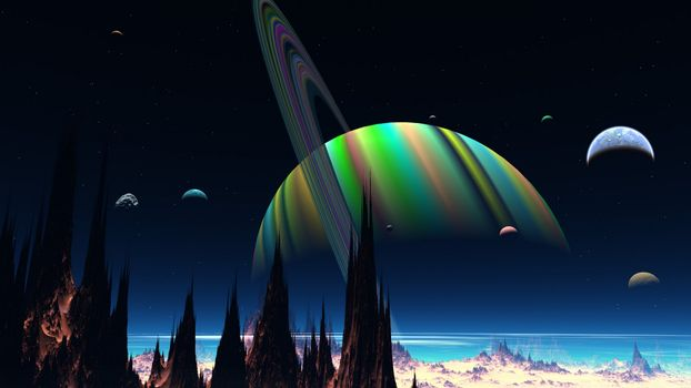 Фото бесплатно планета, кольца, спутники