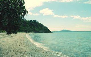 Бесплатные фото побережье,растительность,дерево,горы,море,небо,облака