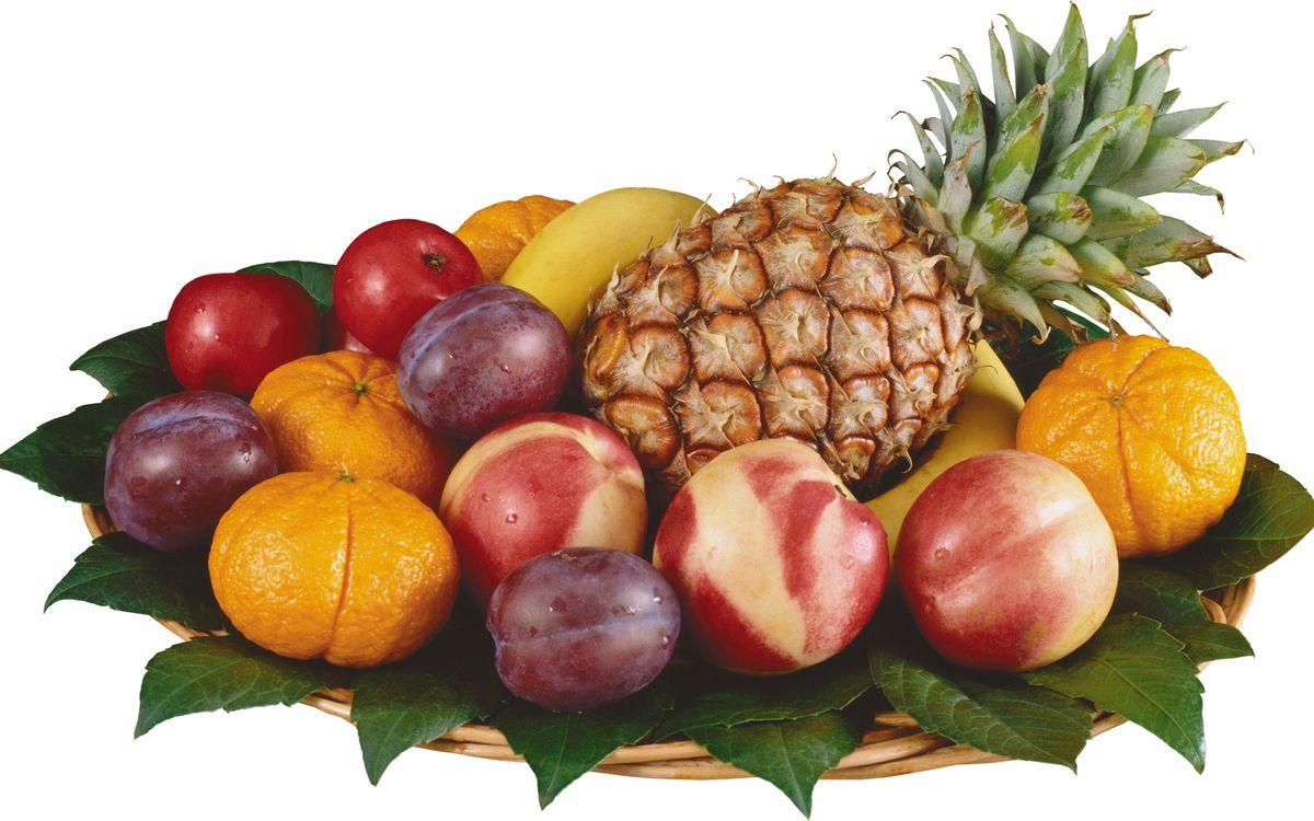 Фото бесплатно фрукты, витамины, сливы, мандарины, ананас, бананы, листья, блюдо, еда