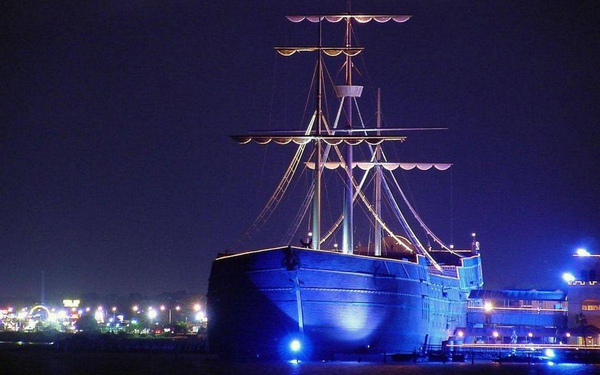 Фото бесплатно ночь, порт, пристань, корабль, мачты, фонари, огни, корабли