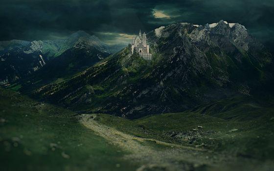 Фото бесплатно дворец в горе, тропа, ночь
