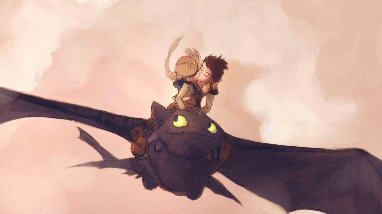 Фото бесплатно как приручить дракона, парень, девушка, дракон, полет, мультфильмы