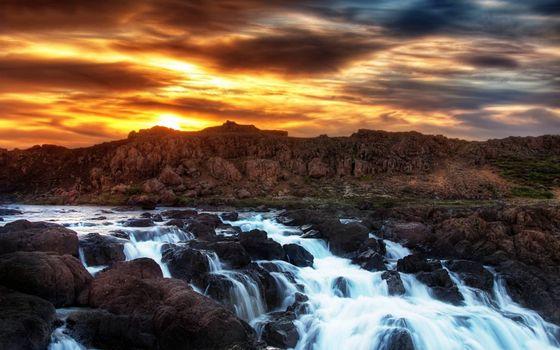 Фото бесплатно река, пороги, закат