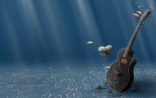 Фото бесплатно водоем, гитара, рыбы
