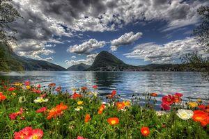 Обои лугано, швейцария, озеро, горы, побережье, цветы, пейзаж