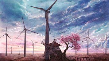 Фото бесплатно рисунок, ветряная мельница, развалины, дерево, ветряки, небо, облака