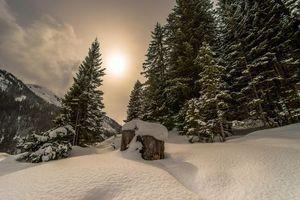 Фото бесплатно зима, снег, закат