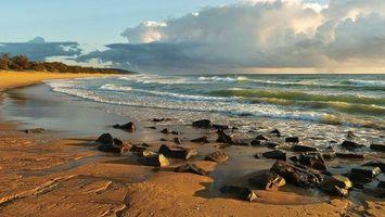 Бесплатные фото берег,песок,камни,кустарник,море,волны,горизонт
