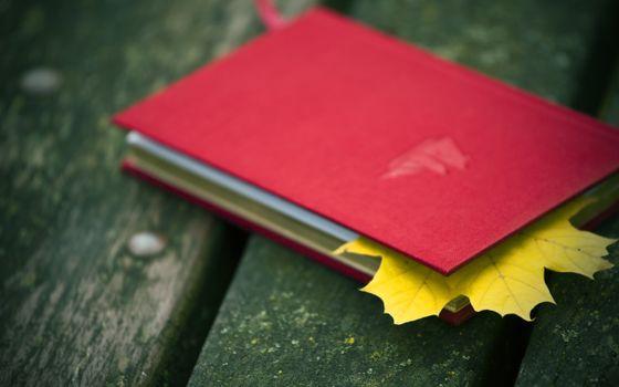 Photo free book, maple leaf, bookmark
