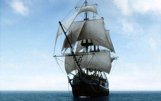 Бесплатные фото корабль,мачты,паруса,море,горизонт,небо