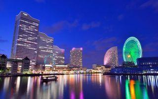 Бесплатные фото мегаполис,Япония,небоскребы,залив,лодка,колесо обозрения,огни