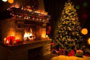 Фото бесплатно подарки, новогодняя елка в интерьере, камин