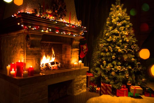 Photo free gifts, New Year tree in the interior, fireplace