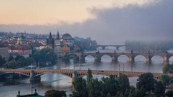 Обои Прага, Чехия, рассвет, река, мосты, город