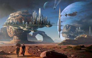 Заставки дорога, лошадь, человек, камни, скалы, острова, город, космические корабли, планеты