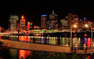 Фото бесплатно ночь, мостик, река