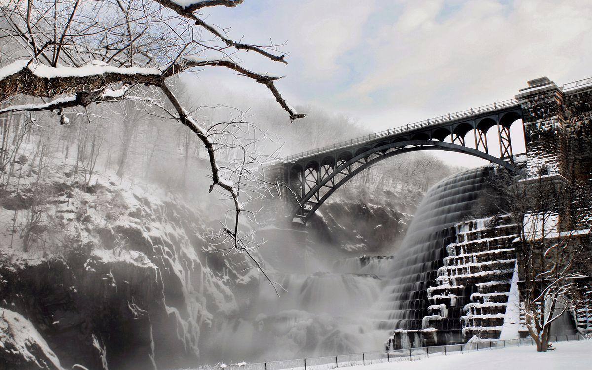 Фото бесплатно мост, дамба, вода, лед, деревья, камни, пейзажи