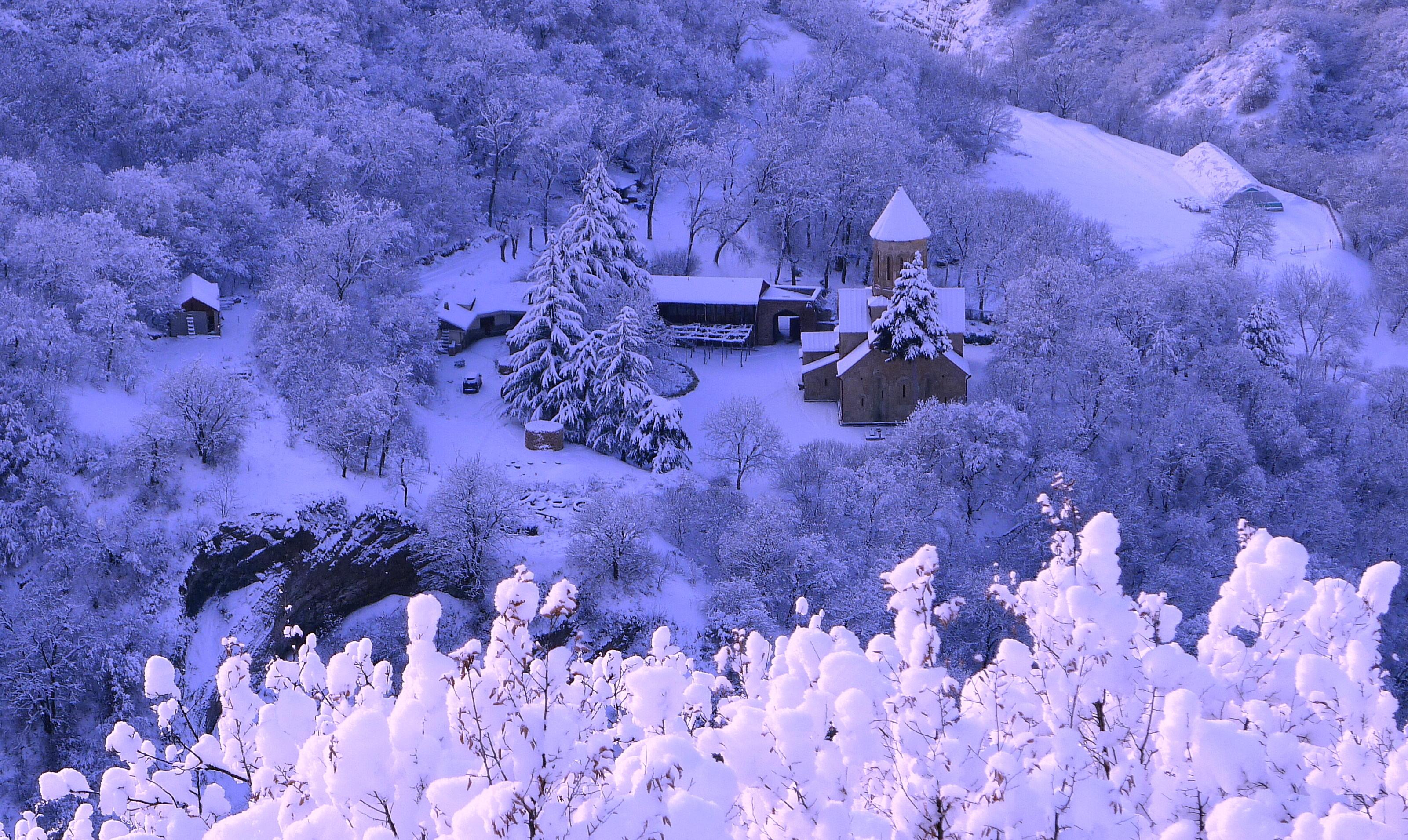 Обои зима, снег, дома, деревья