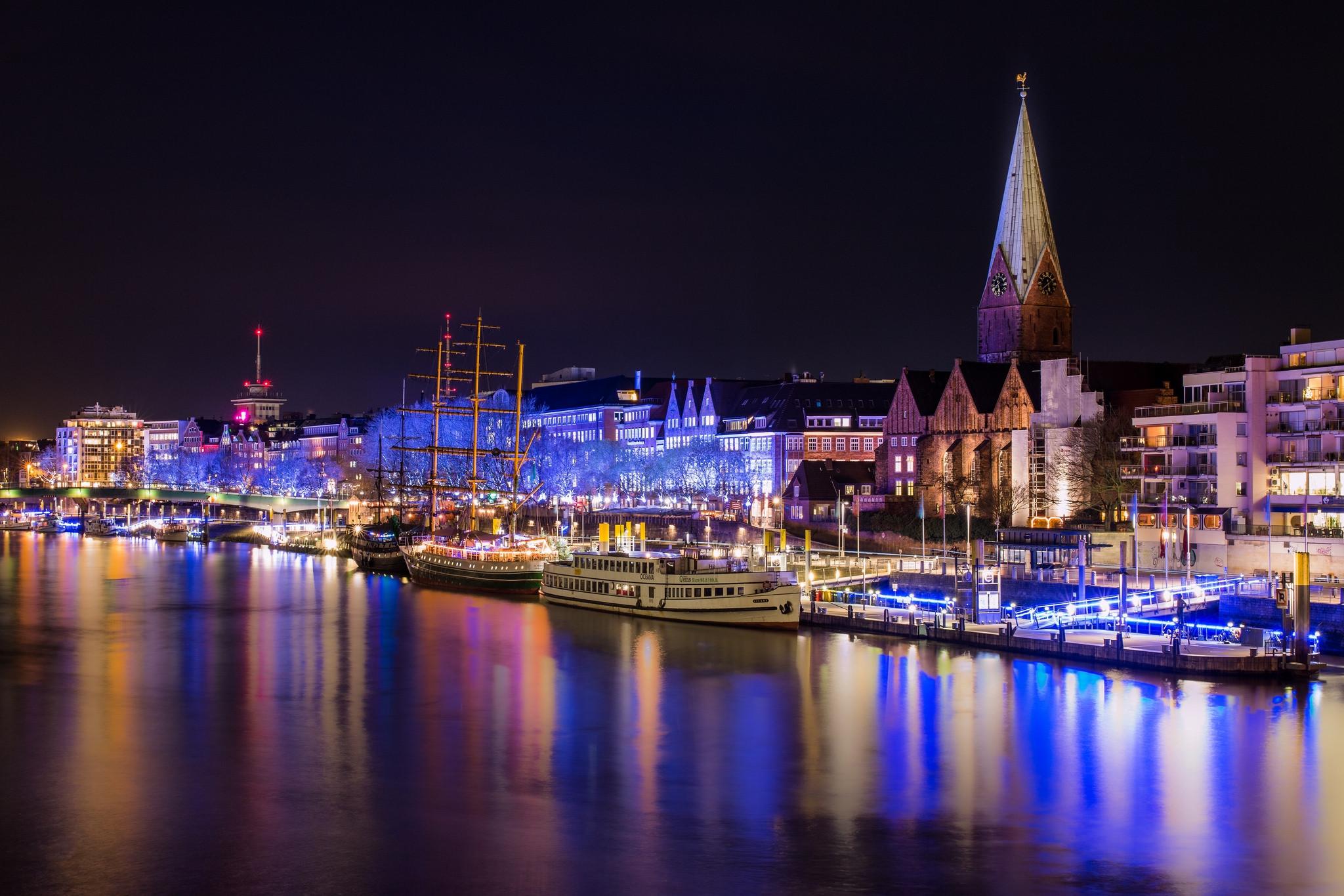 обои Бремен, Германия, город, ночь картинки фото
