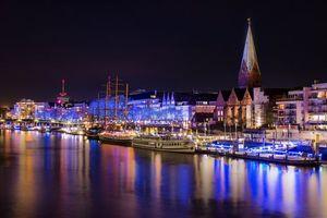 Заставки Бремен, Германия, город, ночь