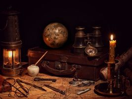 Photo free vintage, map, candle