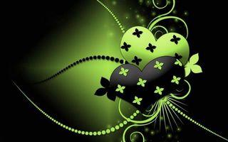 Заставки сердца, узоры, черно-зеленое