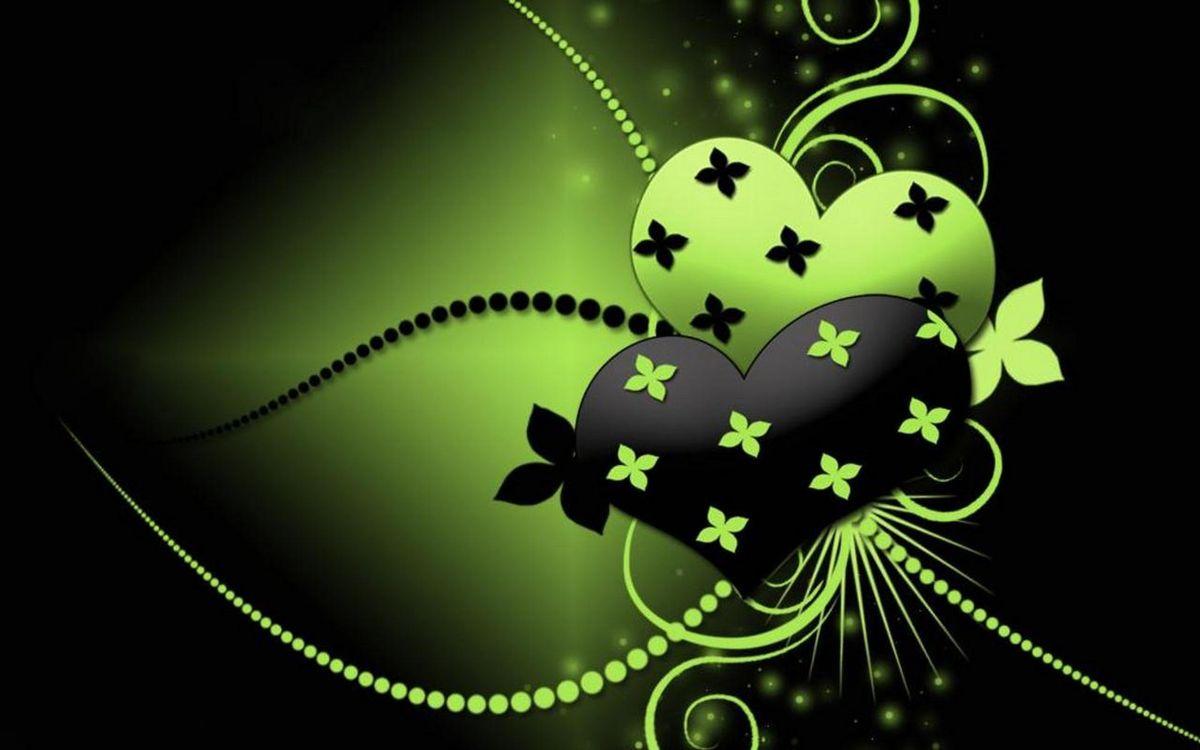Фото бесплатно сердца, узоры, черно-зеленое - на рабочий стол