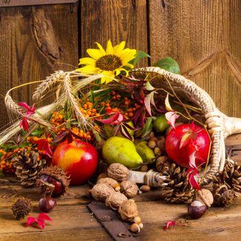 Photo basket, autumn leaves on your desktop