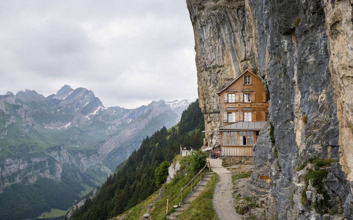 Фото бесплатно горы, скалы, дом - на рабочий стол