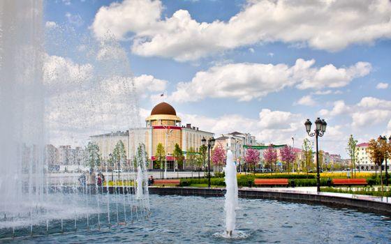 Фото бесплатно город, здания, фонтан