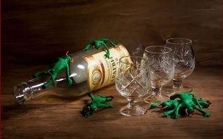Заставки черти,зеленые,напились,бутылка,коньяк,бокалы