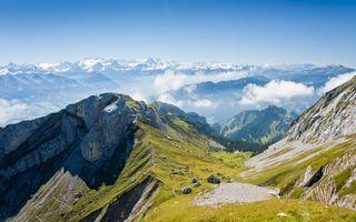 Бесплатные фото горы,скалы,вершины,трава,облака,небо