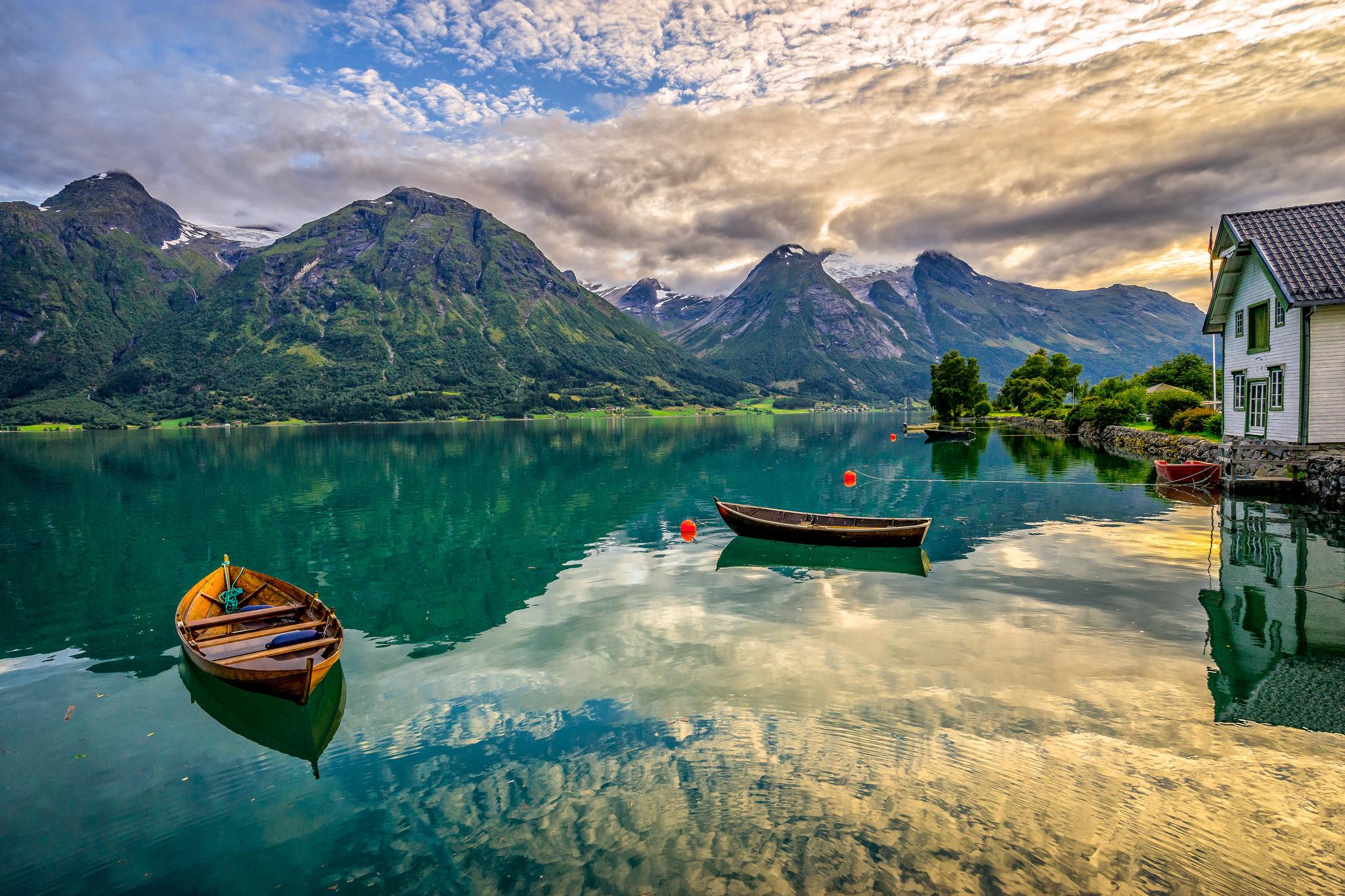 обои Norwegian romantic nationalism, закат, озеро, горы картинки фото