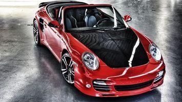 Заставки порше,кабриолет,красный,капот,черный,фары,диски