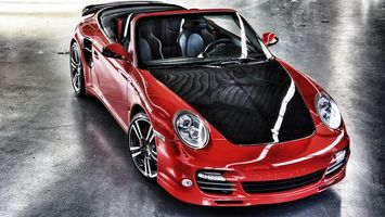 Фото бесплатно порше, кабриолет, красный, капот, черный, фары, диски