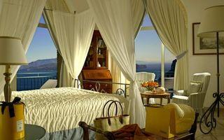 Заставки спальня, кровать, занавески