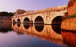 Бесплатные фото река, мост, арки, камень, дом, деревья, небо