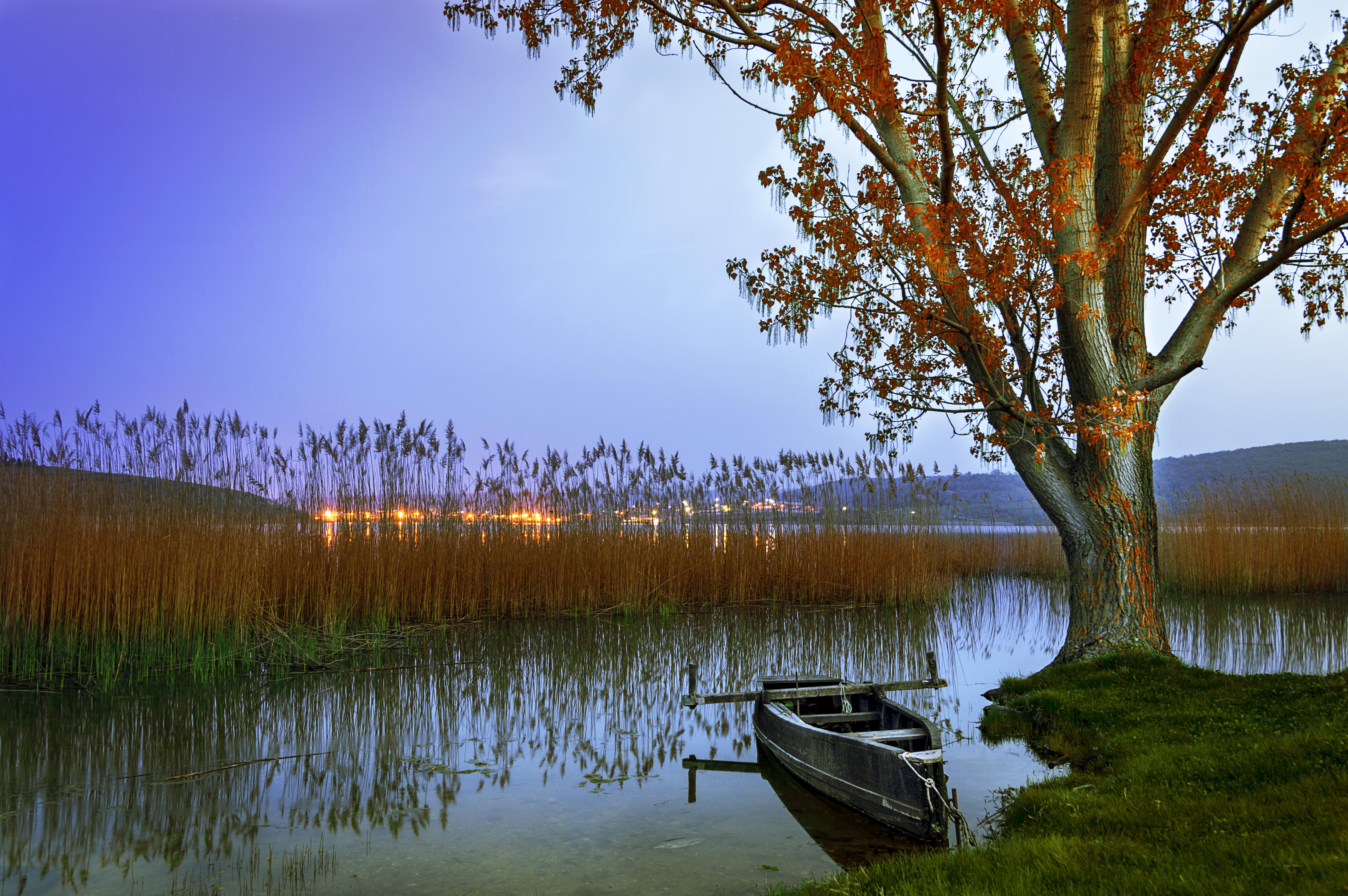 обои водоём, озеро, закат, берег картинки фото