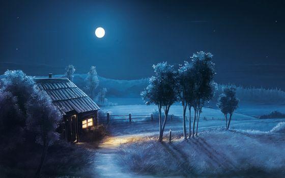 Фото бесплатно ночь, избушка, свет