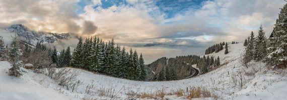 Бесплатные фото Германия,Панорама,Бавария,зима,горы,дорога,деревья
