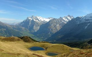 Фото бесплатно горы, озерца, трава