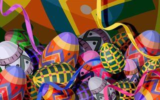 Бесплатные фото рисунок,яйца,разукрашенные,серпантин,пасха