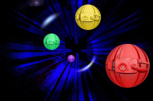 Бесплатные фото абстракция,шары,замки,пространство,3d,art