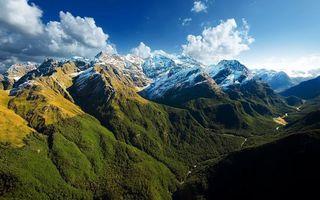 Бесплатные фото горы,река,растительность,вершины,снег,небо,облака