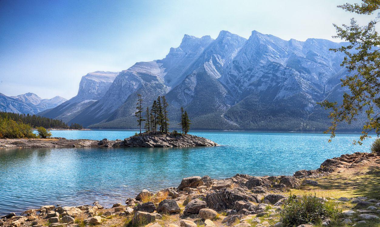 Фото бесплатно Озеро, Minnewanka, Банф, Альберта, Канада, горы, деревья, пейзаж, пейзажи